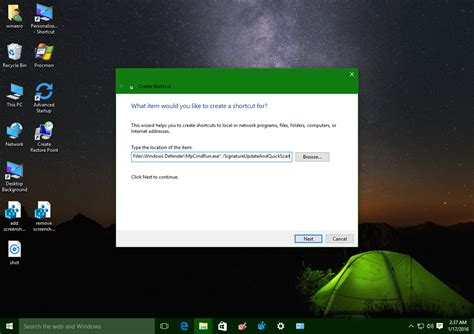 Update Windows Defender and run Quick Scan with one click