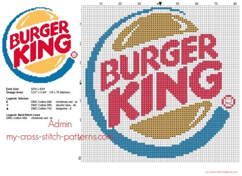 Burger King fast food logo free cross stitch pattern